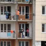 Рабочие на стройке «Гранд Авион» Кеми Финанс Домодедово