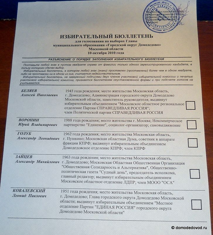фото бюллетеней с выборов