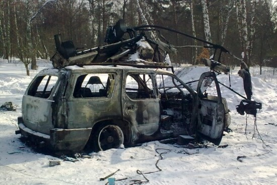 Сгоревшие автомобили около Никитского