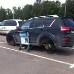 На парковке в аэропорту Домодедово