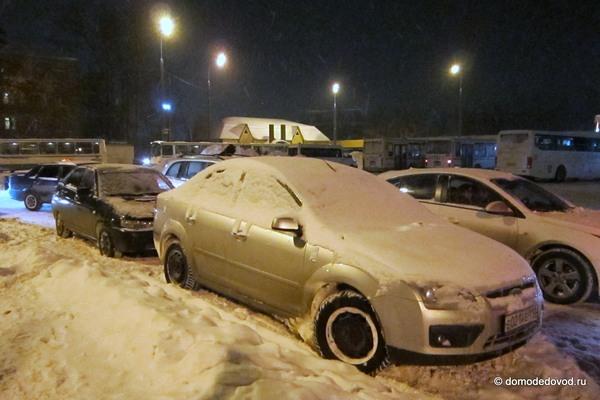 Снегопад в Домодедово привел к пробкам (3)