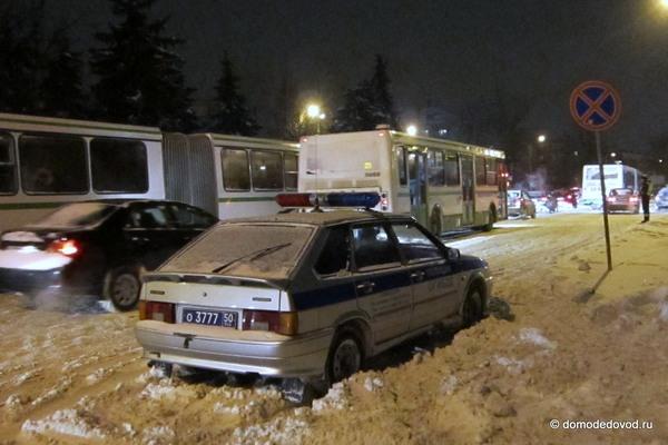 Снегопад в Домодедово привел к пробкам (6)