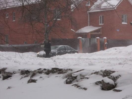 Снегопад в Домодедово. Улица Красная