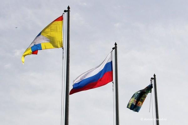 Флаг Домодедово, флаг России и флаг парка Ёлочки