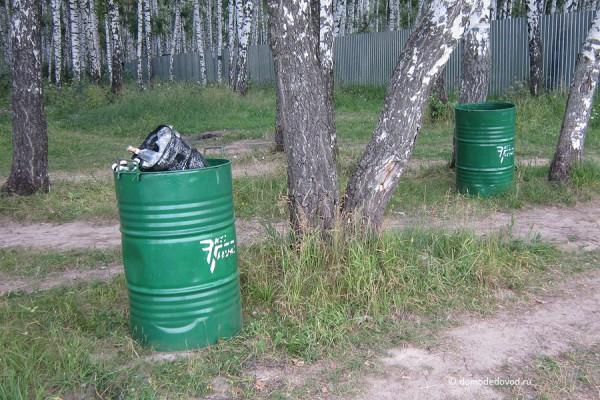 Контейнеры для мусора в березовой роще