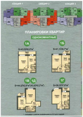 Планировки квартир в ЖК Любимое Домодедово