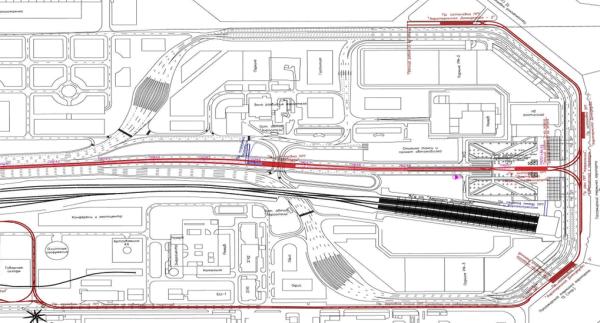 Схема легкорельсового транспорта в районе аэропорта Домодедово