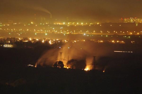 Ночной пожар в Домодедово