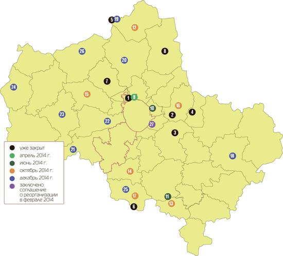 Карта закрытия свалок в Домодедово