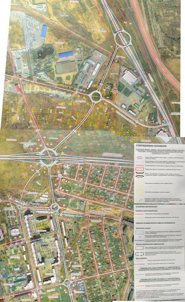 Схема планировки территории в микрорайоне Северный и дороги «Центральная-2»