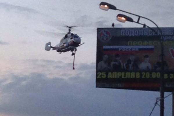 """Вертолет Ка-32 МЧС РФ.  Пожар на рынке """"Покрова"""""""