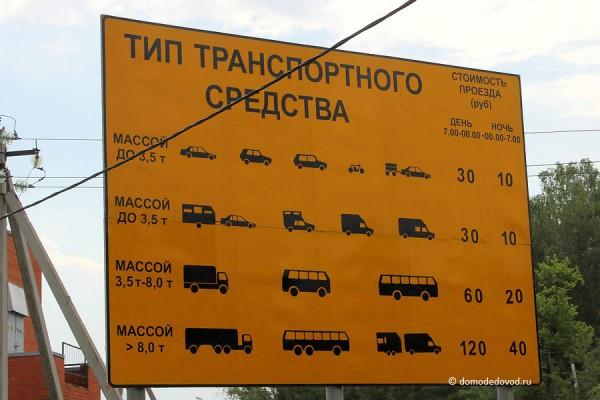 Расценки на платный проезд по М4