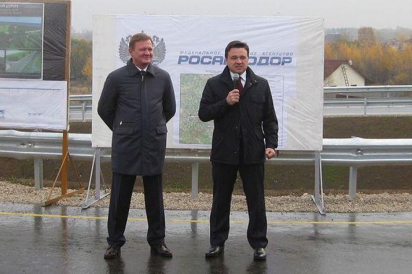 Губернатор Московской области Андрей Воробьезв на открытии путепровода на Белых Столбах