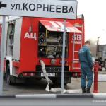 Пожарная машина на улице Корнеева в Домодедово