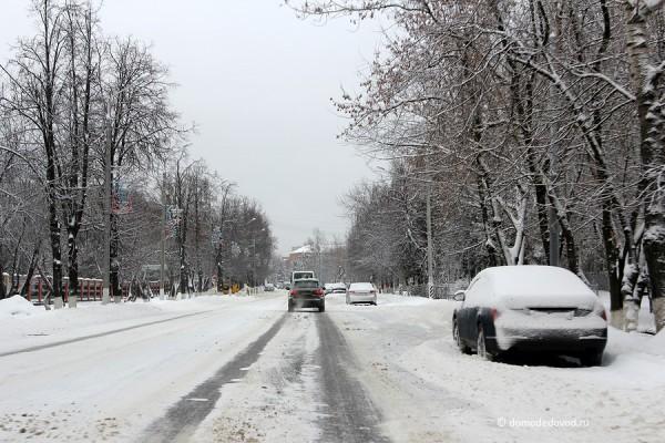 Уборка снега в Домодедово: улица Советская