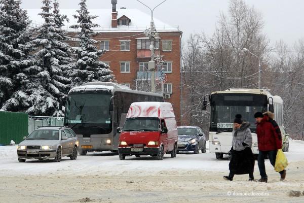 Перекресток Каширского шоссе и ул. Советской в Домодедово
