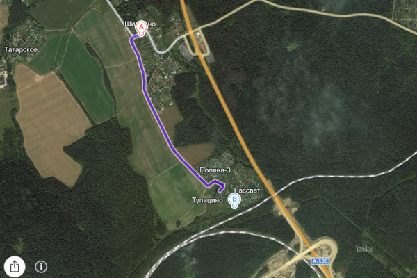 Дорога от Шишкино до Тупицино