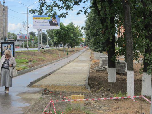 Строительство сквера на Советской