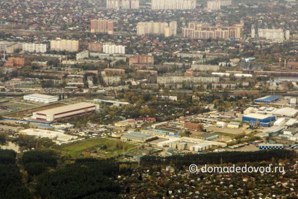 Домодедово сверху. Микрорайон Центральный, вокзал, автовокзал, улица Советская