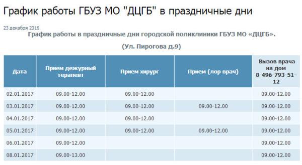 График работы больниц и поликлиник Домодедово в праздничные дни