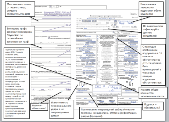 Образец оформления Европротокола при ДТП