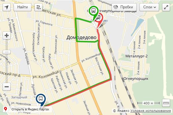 Схема движения автотрансфера по маршруту: ст.Домодедово- ул.Лунная