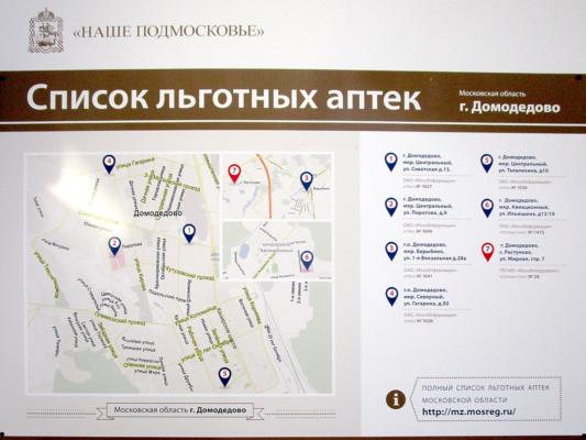 Льготные аптеки Домодедово