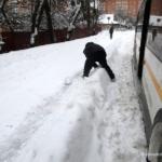 Снег и автобусные остановки в Домодедово