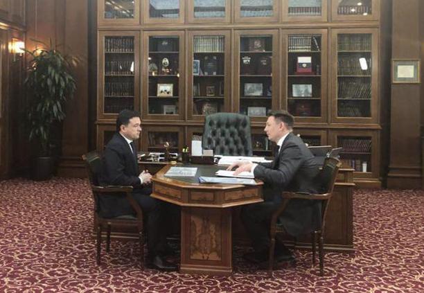 Губернатор Московской области Андрей Воробьев и глава Домодедово Александр Двойных