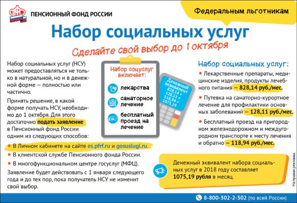 Набор социальных услуг. ПФР