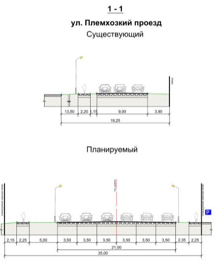 Схема профиля дороги по улице Племхозский проезд