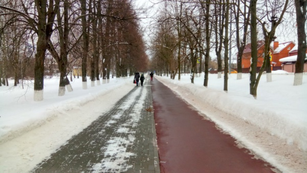 Тротуар и велодорожка на улице Советской