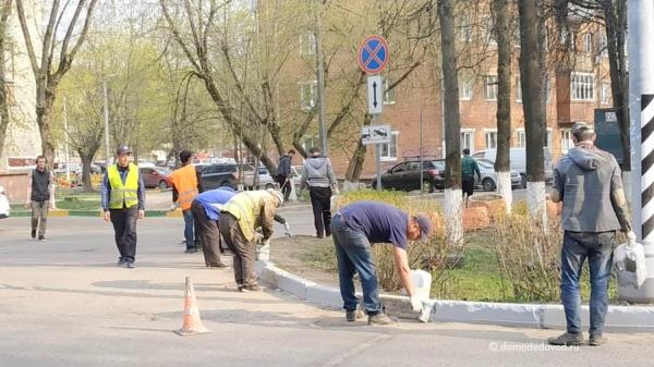 Cерые бордюры в Домодедово