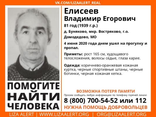 Внимание! Розыск! Пропал Елисеев Владимир Егорович, 81 год, г. Домодедово