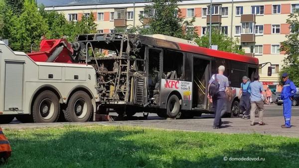 В Домодедово сгорел пассажирский автобус