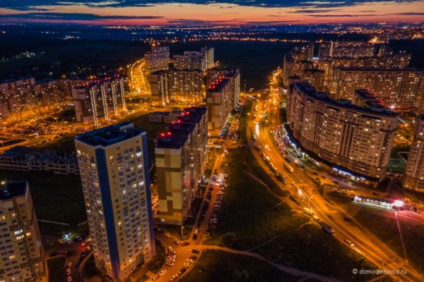 Вечернее Домодедово сверху. Микрорайон Южный. Южное Домодедово и Новое Домодедово