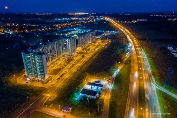 Вечернее Домодедово сверху. Город счастья и трасса М-4 Дон